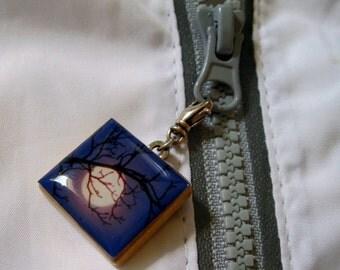 Midnight Moon Zipper Pull Original Photograph Reclaimed Scrabble Game Tile