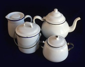 Vintage Enamelware Tea Set Kockums Sweden White Enamel Chippy Cottage Chic