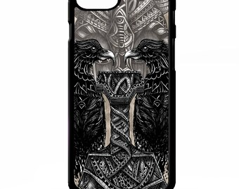Thors hammer Norse god mythology viking raven crow odin pattern graphic cover for Samsung Galaxy S5 S6 s7 s8 plus edge note 4 5 phone case