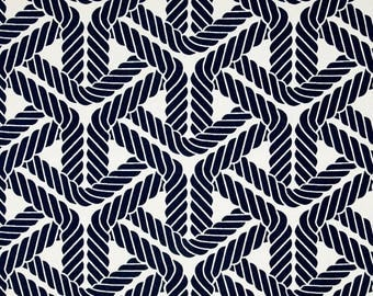 SHIPS SAME DAY Nautical Outdoor Fabric, Sail Rope Print Upholstery Fabric, Topsail Trellis Navy Indoor/Outdoor Fabric - by the yard
