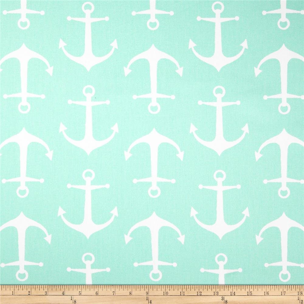 Premier prints sailor twill mint green fabric white for Nautical nursery fabric