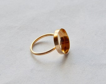 15mm bezel cup ring size7 gold filled