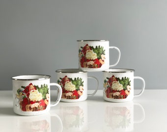 Vintage Enamel Christmas Mugs - set of 4
