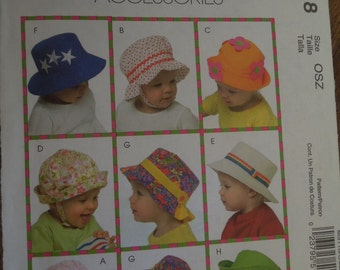"""McCalls M5118, sizes 18"""" to 20"""" , UNCUT sewing pattern, craft supplies, childrens, toddlers, infants hats"""