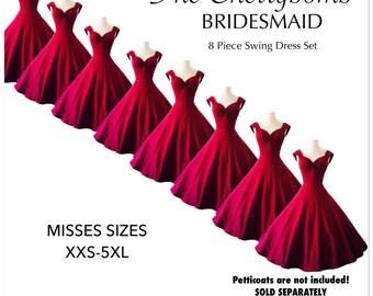 8 Mid Calf Length Merlot Wine Pin Up BRIDESMAID DRESSES with optional Petticoat, Handmade by Hardley Dangerous