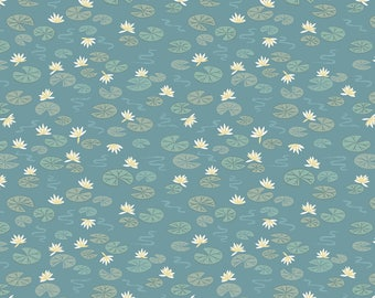 Down by the River A223.2 Lily Pads on Teal Lewis & Irene Patchwork Quilting Dressmaking Fabric