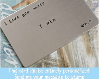 Aluminum Wallet Card Insert - Personalized Wallet Card - Hand Stamped Wallet Card - Custom Engraved Wallet Card - Personal Message on Card