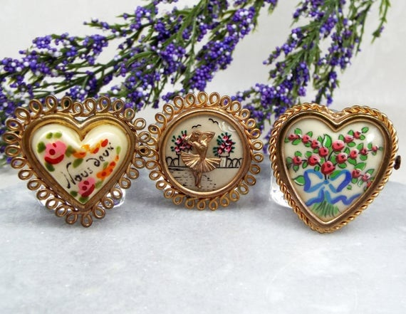 Vintage Set of 3 French Hand Painted Sweetheart Pinchbeck Gold Tone Brooch Pins
