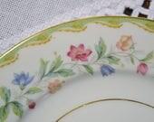 RESERVED Vintage Noritake Elmhurst Salad Dessert Plate Set of 4 Replacement Green Edge Pink Blue Yellow Flowers Pattern 5202 PanchosPorch