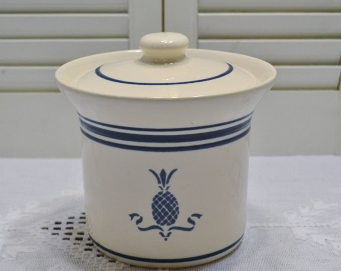 Vintage Pfaltzgraff Spectrum Hospitality Canister Small Size White Blue Pineapple Retro Kitchen Storage PanchosPorch