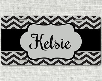 License Plate, Monogram License Plate, Personalized License Plate, Black Silver Chevron, Personalized Gifts, Mothers Day, Car Tag 9221