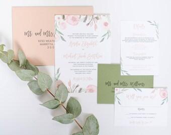Blush and Eucalyptus Wedding Invitation Mauve and Greenery Invite SAMPLE