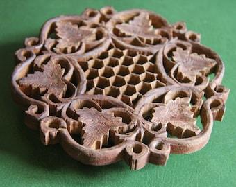 Vintage Hand Carved Wood Trivet Pot Holder/Bohemian Kitchen/Bohemian Decor/Carved Wood/Heat Pad