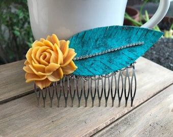 Bohemian Hair Comb, Leather Feather, Distressed, Verdigris, Hand Patina, Mustard Yellow Rose, Boho, Shabby Chic, Gypsy, Summer, Wedding,