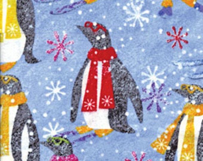 Half Yard FLANNEL Burr! - Penguins in Blue - Adorable and Cozy Flannel Fabric - Benartex Fabrics - 5609F-55 (W3492)