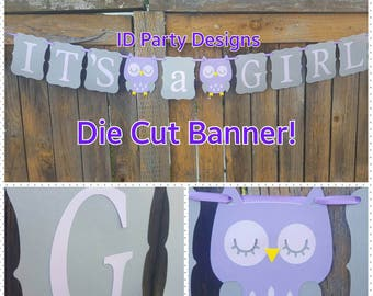 OWL BABY SHOWER Banner any color combo any phrase Who's Whoo's having a baby Who's Whoo's almost due It's a Boy It's a Girl