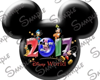 DIGITAL printable Do-It-Yourself Character inspired  Mickey head Walt Disney World file with year 2017