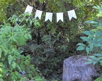 Banner or Bunting  Made From Vintage Linens- White With Peach Embroidery