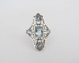Vintage Sterling Silver Natural Aquamarine Long Ring Size 6