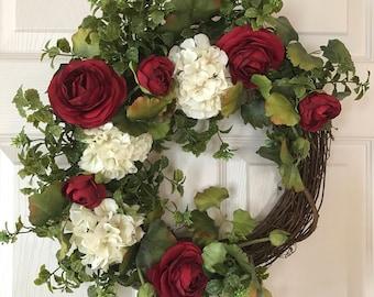 FRONT DOOR WREATH,Rose Wreath,Fall Wreath,Summer Wreath,Hydrangea Wreath, Valentine Wreath,Spring Wreath,Boxwood Wreath,Year Round Wreath
