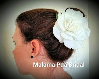 GARDENIA BRIDAL FLOWER, Hair Accessory, Wedding headpiece, Real Touch, Beach Wedding, Hair Flower, Hawaiian, hair clip, Fascinator, Tropical