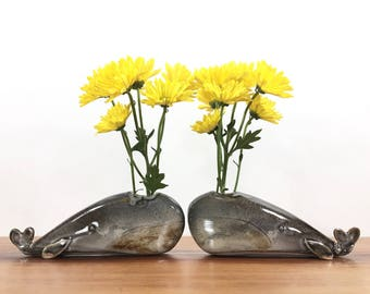 whale vase / bud vase / grey whale / one whale