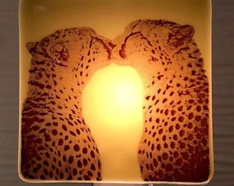 Cheetah Kiss Night Light Fused Glass