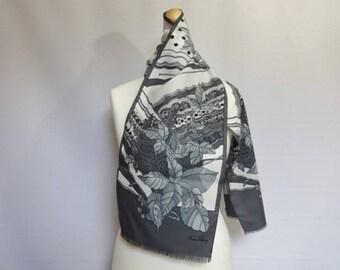 "Vintage Anne Valery Grey Floral scarf 25cm x 138cm 9.8"" x 54.3"""