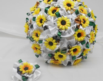 Camo Wedding, True Timber Snowfall,  Wedding Bouquet, Camo Bridal Bouquet, Keepsake Bouquet,  Sunflower Bouquet, Green White Bouquet