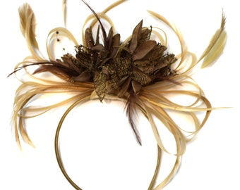 Champagne Gold Beige Camel and Coffee Brown Fascinator on Headband Alice Band UK Wedding Ascot Races Derby