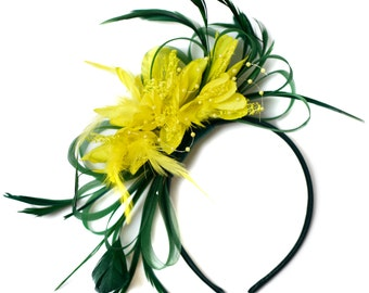 Emerald Green and Yellow Fascinator on Headband Alice Band UK Wedding Ascot Races Derby