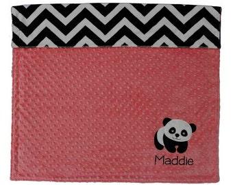 Panda Bear Baby Blanket, Personalized Coral and Chevron Minky Baby Blanket, Chevron Panda Baby Girl Blanket, Panda Nursery