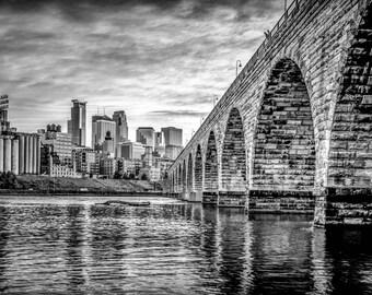 Minneapolis Skyline Panorama Black And White