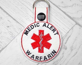 warfarin keyring, warfarin alert keyring, medic alert keychain, awareness, warfarin alert, medic alert, anticoagulant alert, blood thinner