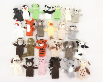 KNITTING PATTERN, 25 Animal Finger Puppets, Pet Parade, Waldorf Toys, Softies, Finger Puppets, Knitted Toy Animals, Set of 25