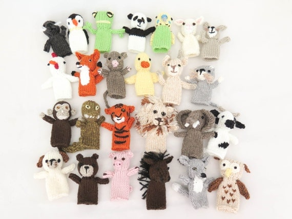 Knitting Patterns Toys Finger Puppets : KNITTING PATTERN, 25 Animal Finger Puppets, Pet Parade, Waldorf Toys, Softies...