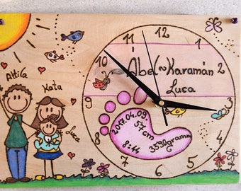PERSONALIZABLE newborn baby party wall clock,hand made, wood pyrography