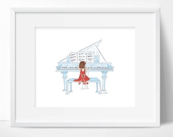 Art for Girl's Room Piano Art Little Girl Music Wall Art Musical Teacher 8 x 10 Preforming Arts Cute Girl Playing Music. Playroom Wall Print