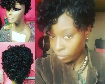 Dc wig human hair short braided wig