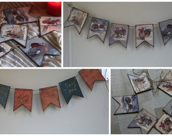 Vintage Christmas Decorations - Banners Signs - CHRISTMAS Garland - banner Photo Prop - holiday decorations