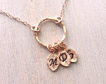 Rose Gold Necklace, Mothers Day Necklace, Mom Jewelry, Family Tree Necklace, Personalized Rose Gold Necklace, Mothers Day rose gold necklace