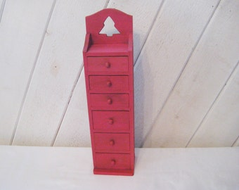 Red wood tiny drawer cabinet, distressed apothecary chest, cabin decor, Christmas decor, holiday decor, 1250