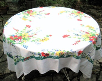 White floral tablecloth, vintage square tablecloth, orange red, yellow, blue flowers, multi colored tablecloth, mid century, farmhouse