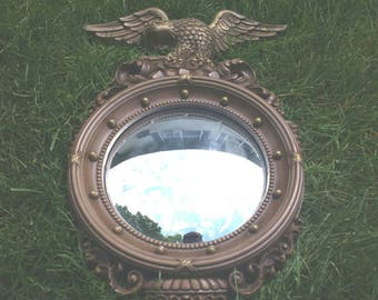 vtg eagle convex mirror Syroco brown plastic kitchen wall hanging classic Federal USA made Syracuse NY 4410