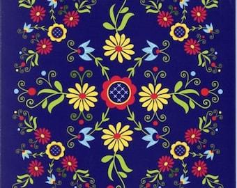 Ceramic Tile ~ Trivet ~ Hot pad  Scandinavian  Folk Art Flowers