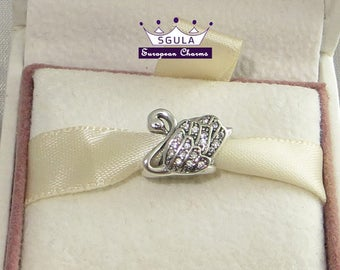 925 Sterling Silver Charm European bead Majestic Swan fit Pandora Charm bracelet and to all European Bracelets