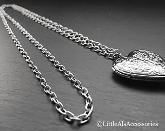 Heart Shaped Locket, Long Silver Locket Necklace, Silver Locket, Long Silver Necklace, Heart Locket, Simple Locket, Locket Necklace, Gifts