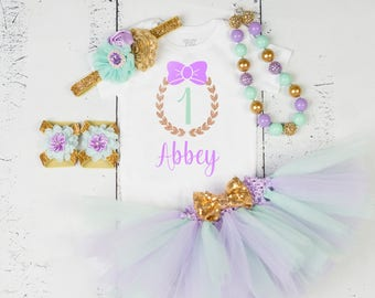 PERSONALIZED FIRST BIRTHDAY Outfit Girl,Gold 1st Birthday,Birthday Tutu,Mint Lavender First Birthday,Custom Birthday Set,Baby Girl Birthday