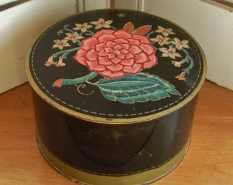 Vintage Avon Jasmine Dusting Powder Round Lidded Tin with Lovely Floral Design on Black Background Cottage Chic Vanity Tin Storage Canister