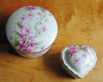 2 Vintage Lefton Trinket Boxes with Pretty Pink Flowers One Heart Shaped One Round Romantic Cottage Chic Valentines Day